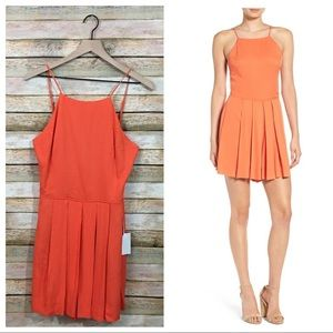 NWT 1.State Pleated Romper - Orange-Lily - Small